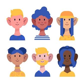 Pacote de avatares de pessoas diferentes