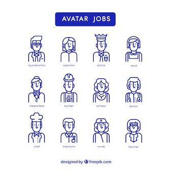 Pacote de avatares de trabalhadores com estilo minimalista