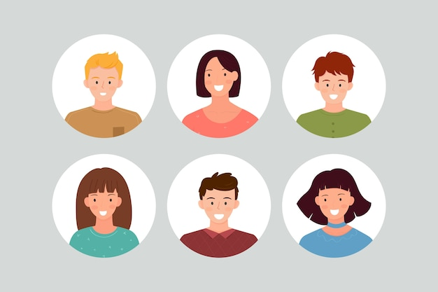 Pacote de avatares para pessoas diferentes