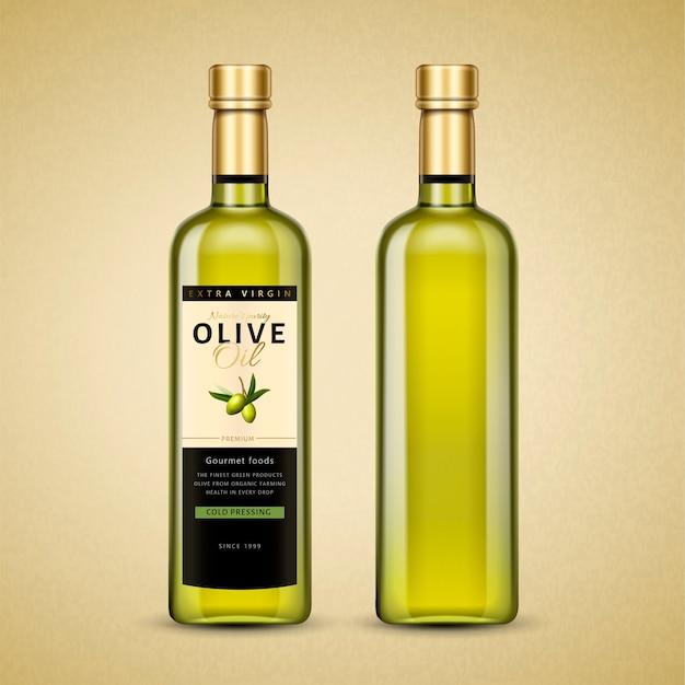 Pacote de azeite de oliva, produto de óleo requintado em ilustração com etiqueta para uso de design