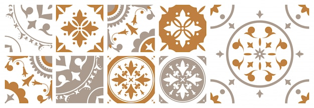 Pacote de azulejos decorativos quadrados com vários padrões orientais florais tradicionais. conjunto de ornamentos decorativos mediterrâneos em cores marrons e brancas. ilustração em estilo vintage.