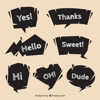 Pacote de balões de diálogo com mensagens