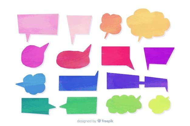 Pacote de balões de fala em aquarela