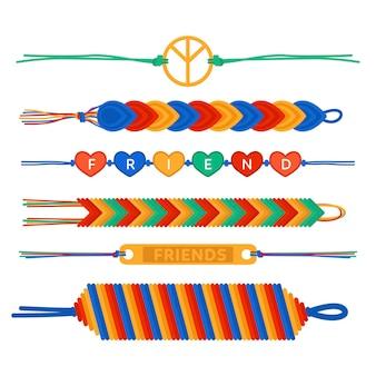 Pacote de bandas de amizade coloridas