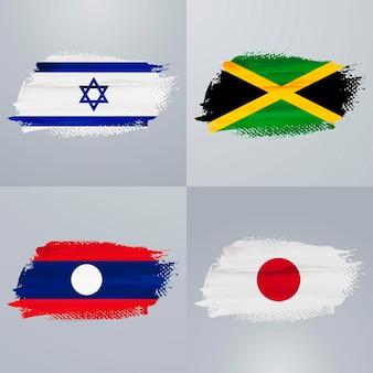 Pacote de bandeiras de israel, jamaica, laos e japão