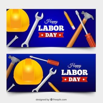 Pacote de bandeiras do dia do trabalho com design realisitic