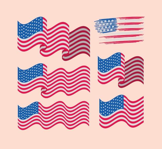 Pacote de bandeiras dos eua