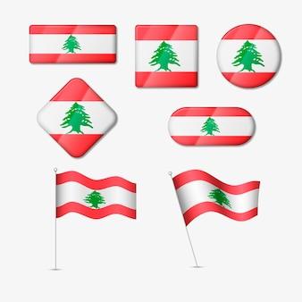 Pacote de bandeiras libanesas realistas