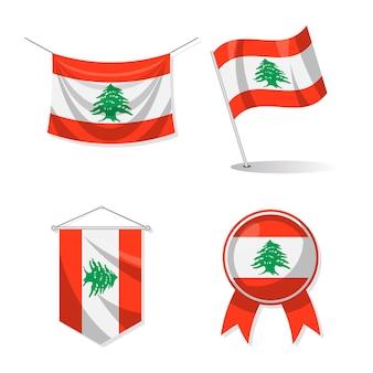 Pacote de bandeiras planas libanesas
