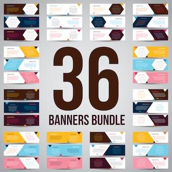 Pacote de banner abstrato de três cores simples