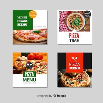 Pacote de banner de comida fotográfica plana