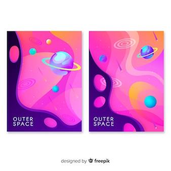 Pacote de banner de galáxia desenhada de mão
