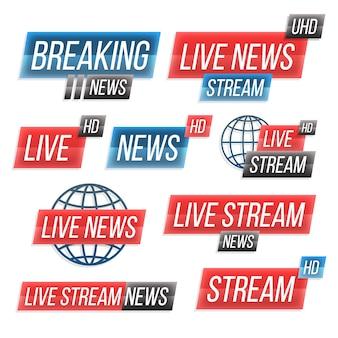 Pacote de banner de notícias de transmissões ao vivo