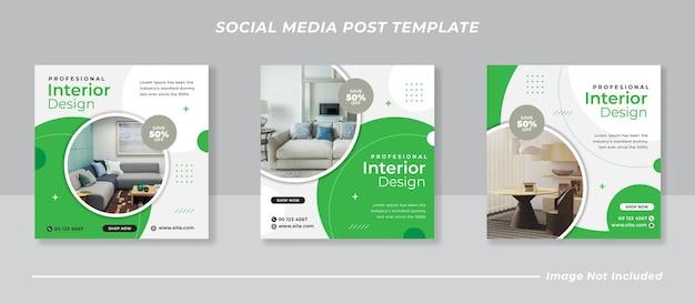 Pacote de banner de postagem de feed de instagram de mídia social minimalista