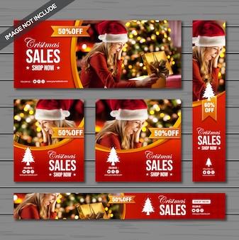 Pacote de banner de venda de natal