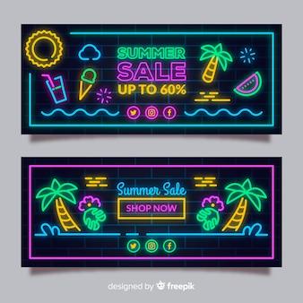 Pacote de banner de venda de verão de sinal de néon
