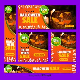 Pacote de banner de venda de web de halloween com foto