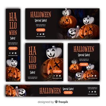 Pacote de banner de venda de web de halloween com imagem