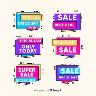 Pacote de banner de venda memphis colorido