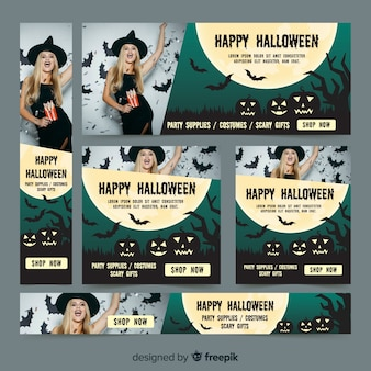 Pacote de banner de venda moderna web de halloween