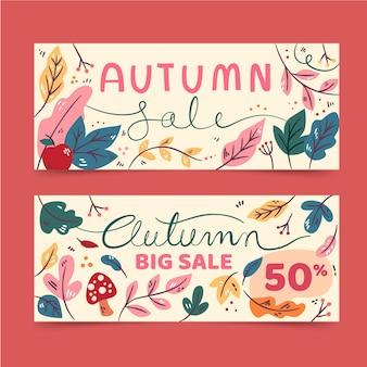 Pacote de banner de venda outono Vetor grátis