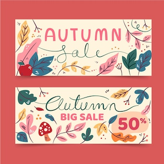 Pacote de banner de venda outono