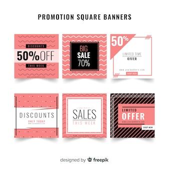 Pacote de banner de vendas de formas geométricas
