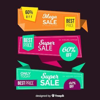 Pacote de banner de vendas de origami colorido