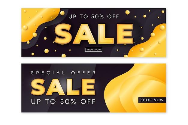 Pacote de banner de vendas dourado realista