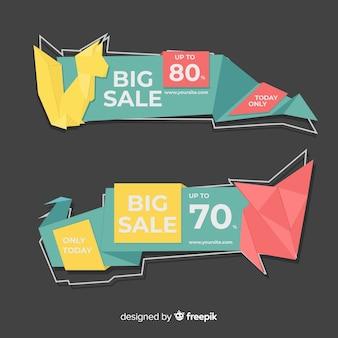 Pacote de banner de vendas geométricas coloridas