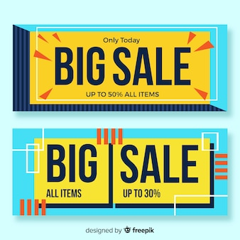Pacote de banner de vendas geométricas simples