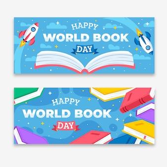 Pacote de banner do dia mundial do livro