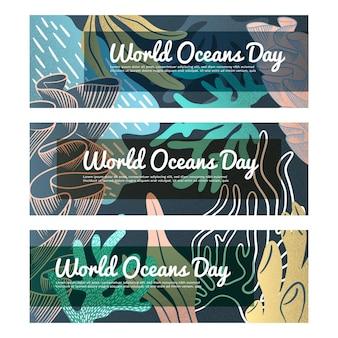Pacote de banner do dia mundial dos oceanos