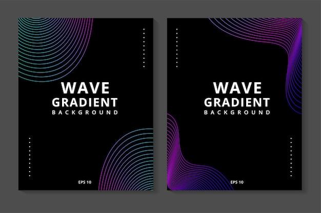Pacote de banner moderno abstrato com onda de linha colorida