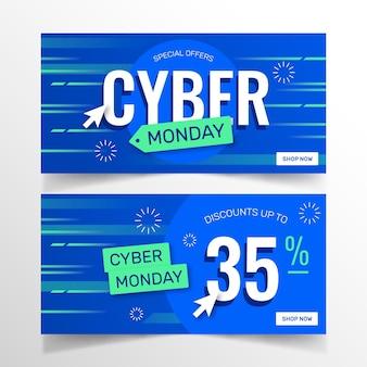 Pacote de banners cibernéticos de design plano