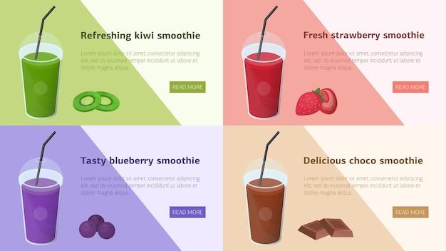 Pacote de banners coloridos da web horizontais com smoothies feitos de frutas tropicais, frutas vermelhas e chocolate.