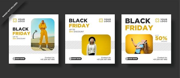 Pacote de banners da black friday e postagem nas redes sociais