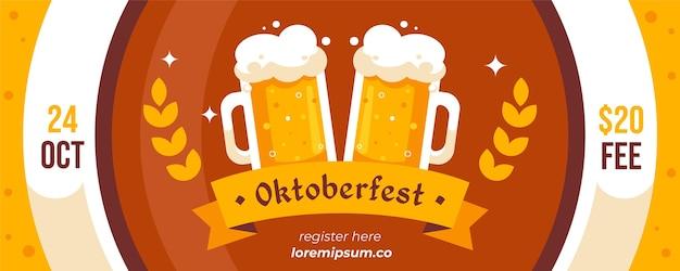 Pacote de banners da oktoberfest de design plano