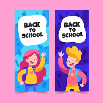 Pacote de banners de design plano de volta à escola