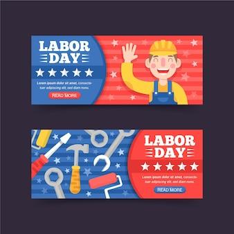 Pacote de banners de dia do trabalho de design plano