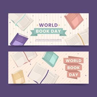 Pacote de banners de dia mundial do livro