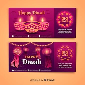 Pacote de banners de diwali plana