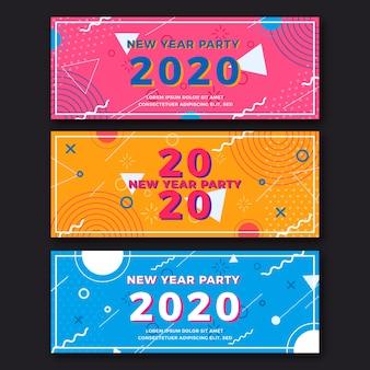 Pacote de banners de festa de ano novo de design plano 2020