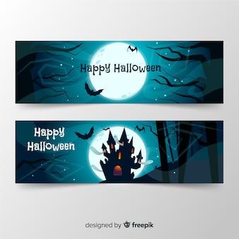 Pacote de banners de halloween de mão desenhada