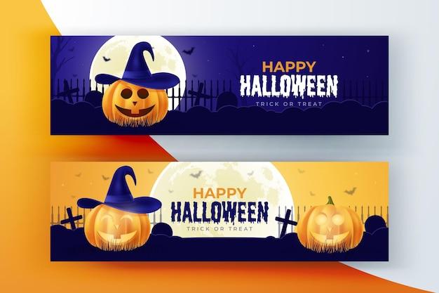 Pacote de banners de halloween realista
