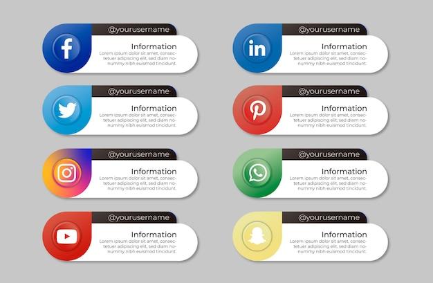 Pacote de banners de mídia social com mensagem