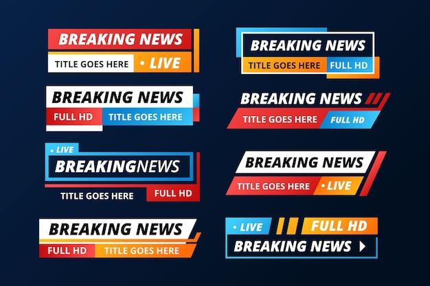 Pacote de banners de notícias de transmissão ao vivo