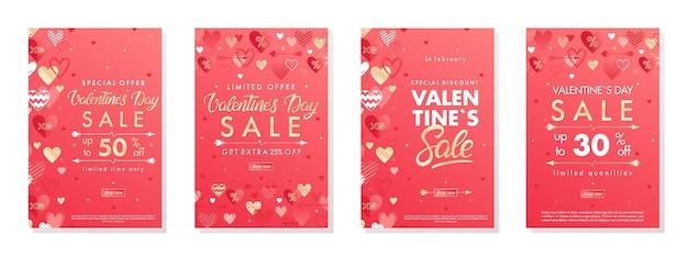 Pacote de banners de oferta especial de dia dos namorados com corações e elementos de folha dourada