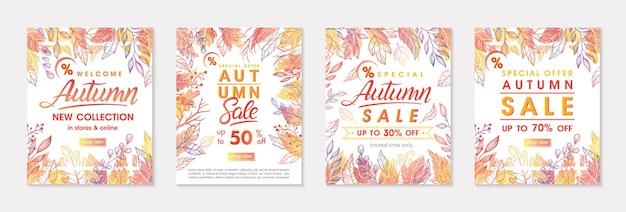 Pacote de banners de oferta especial de outono com folhas de outono e elementos florais em cores de outono. modelos de venda perfeitos para estampas, folhetos, banners, promoções. conceito de negócio. promos de outono em vetor.