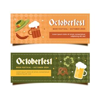 Pacote de banners de oktoberfest de design plano
